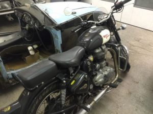 Royal Enfield Stripped down, repaired and now running - rear