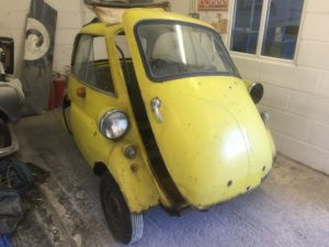 Isetta bubble car restoration in progress 1